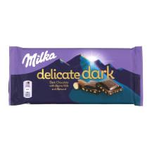 Tumšā šokolāde Milka Delicate ar mandelēm 85g