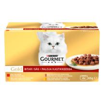 Kačių ėdalas su mėsa GOURMET GOLD, 4 X 85g