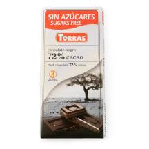 Šokolāde Torras bez cukura 72% kakao 75g