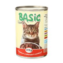 Kons. kačių ėdalas su jaut. BASIC LINE, 415g