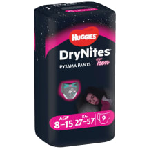 Biks. Huggies dry nites girl 8-15g. 9gb
