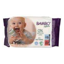 Drėgnos servetėlės BAMBO NATURE, 80 vnt.