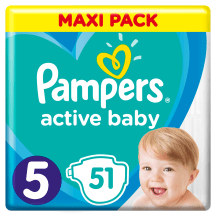 Sausk., PAMPERS ACTIVE VP+5, 11-18kg, 51 vnt.