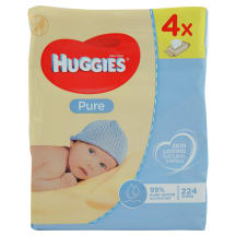 Mitrās salvetes Huggies Pure quadro 56x4gb