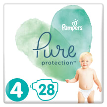 Sauskelnės PAMPERS PURE CARRY PACK 4, 28vnt.