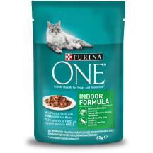Barība kaķiem One Indoor ar tunci 85g