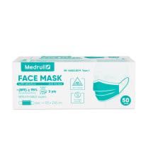 Kaukės MEDRULL su guma, 3-sluoksniai N50
