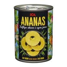 Ananasų griežinėliai sultyse ICA, 340 g