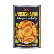 Abrikosų puselės sirupe ICA, 410g / 240g
