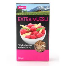 Müsli Extra White Choco&Raspberry Rimi 375g