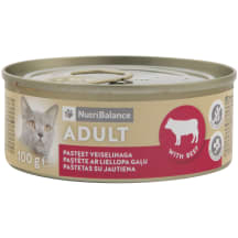 Kaķu barība Nutribalance ar liellopa g. 100g