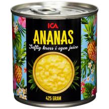 Sasmalcināti ananasi sulā ICA 425g