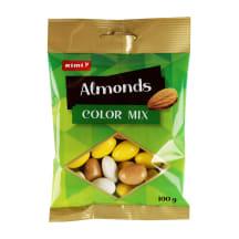 Mandeles baltajā šokolādē Rimi Color mix 100g