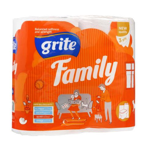 Tualetinis popierius GRITE FAMILY, 3 sl., 1 pak. (4 vnt.)