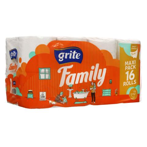 Trisluoksnis tualetinis popierius GRITE FAMILY DECOR, 1 pak. (16 rit.)