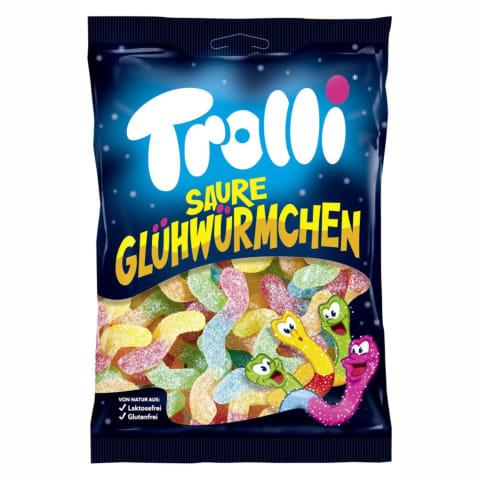 Kummikommid sour glowworms Trolli 200g