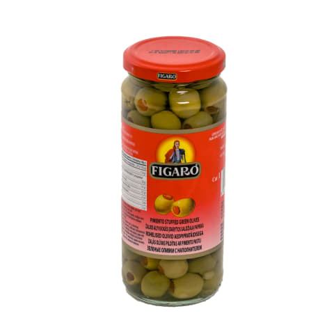 Zaļās olīvas Figaro ar pimento pastu 340g