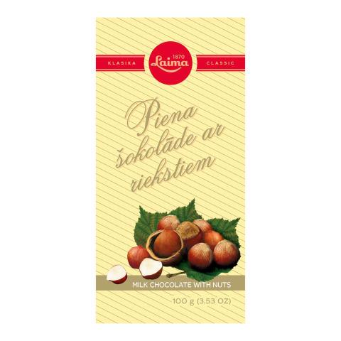 Piena šokolāde Laima ar riekstiem 100g