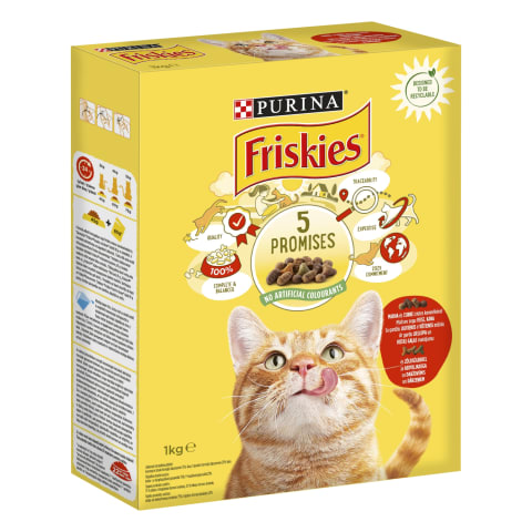 Sausas kačių ėdal. su jaut.,višt.FRISKIES,1kg