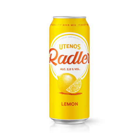 Alaus kokt.UTENOS Radler Lemon, 2 %, 0,5 l