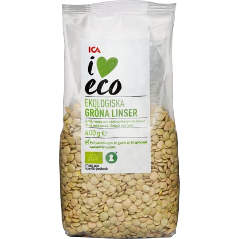 Läätsed rohelised I Love Eco 400g
