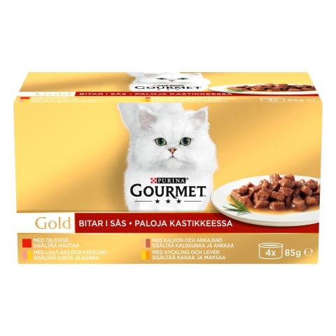 Kačių ėdalas su mėsa GOURMET GOLD,4vnt.x85g