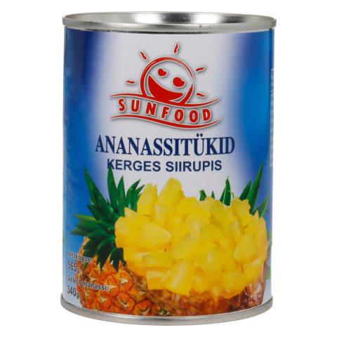 Ananassitükid kerges siirupis Sunfood 565g
