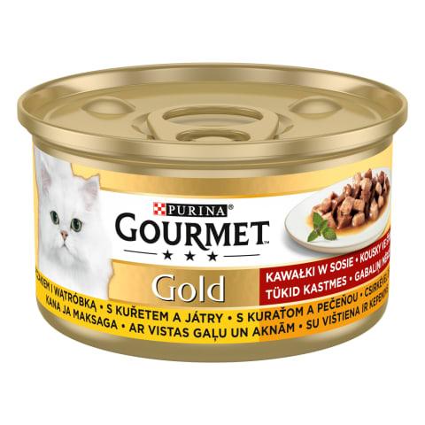 Kons. kaķiem Gourmet gold aknu vistas 85g