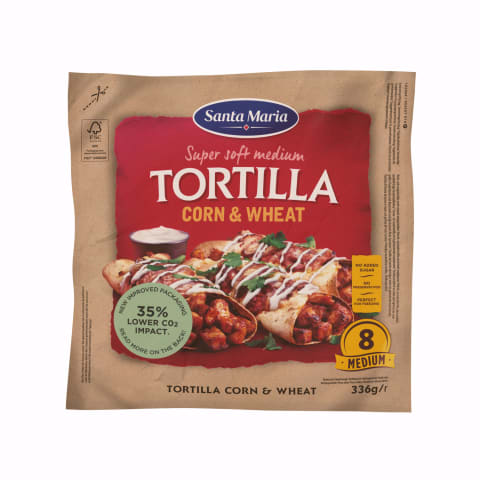 Tortiljas Santa Maria kukurūzas, kviešu 336g