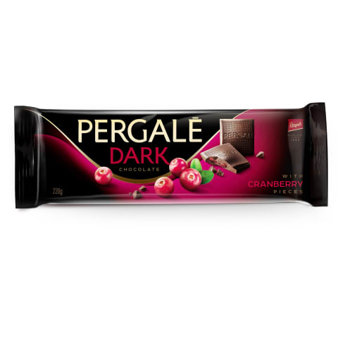 Tumšā šokolāde Pergale ar dzērvenēm 220g