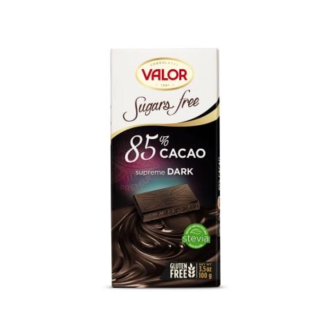 Juod.šokolad.85 % VALOR su saldikliais, 100 g