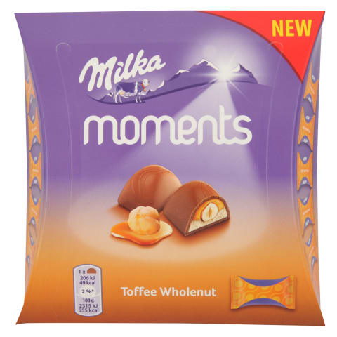 Šok. konf. Milka moments toffee riekstu 97g