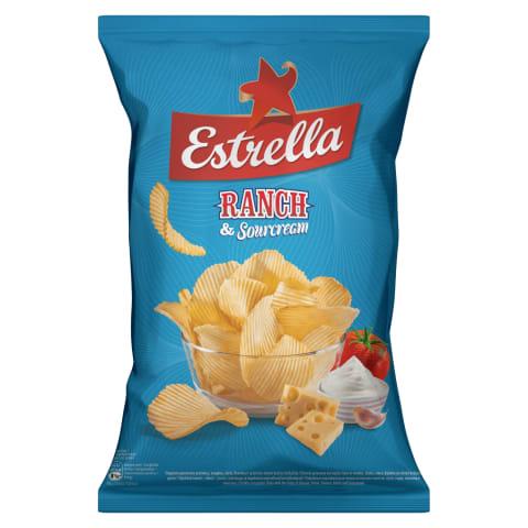 Čipsi Estrella siera-tomātu-sīpolu-krēj. 130g