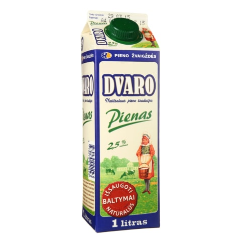 Pienas DVARO, 2,5 % rieb., 1 l