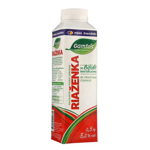 GAMTOS RIAŽENKA raug.pieno gėrimas,3,2%,0,5kg