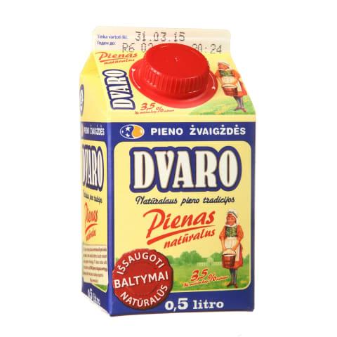 DVARO pienas, 3,5% rieb., 0,5l