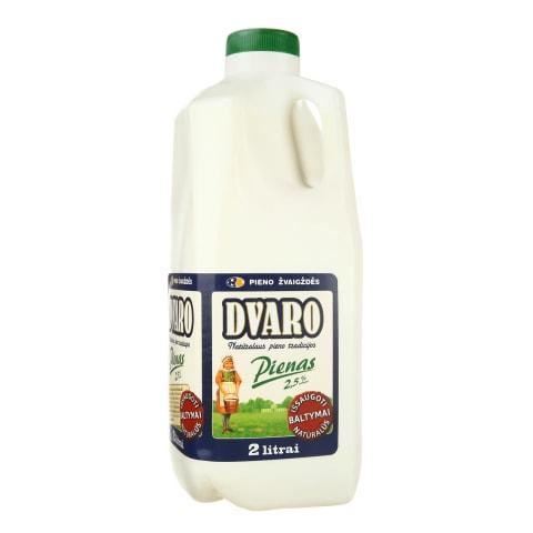 DVARO pienas, 2,5% rieb., 2l