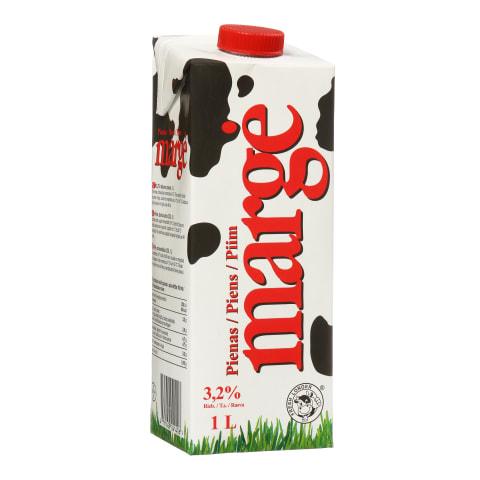 UAT pienas MARGĖ, 3,2% rieb., 1l (tetrapakas)