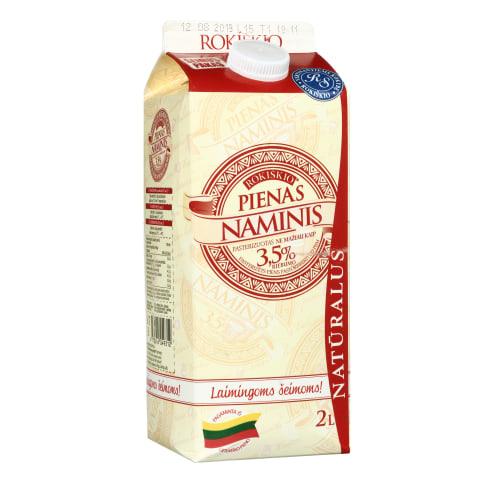 Natūralus ROKIŠKIO NAMINIS pienas, 3,5 %, 2 l