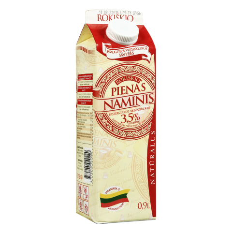 Natūralus NAMINIS pienas, 3,5% rieb., 0,9l