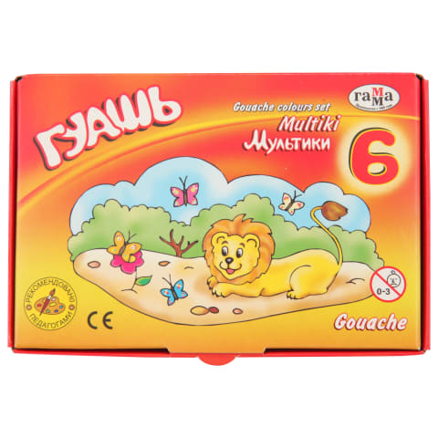 Guašo dažai GAMMA MULTIKI, 6 spalvų