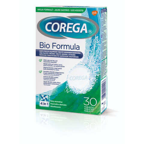 Protēžu tīrīšanas tabletes Corega Bio 30 gab.