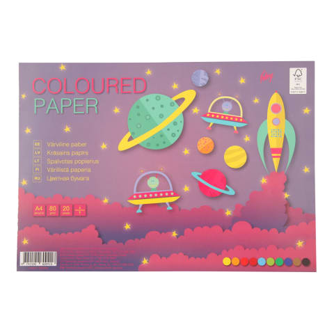 Dvipusis spalvotas popierius KPF A4, 20psl.
