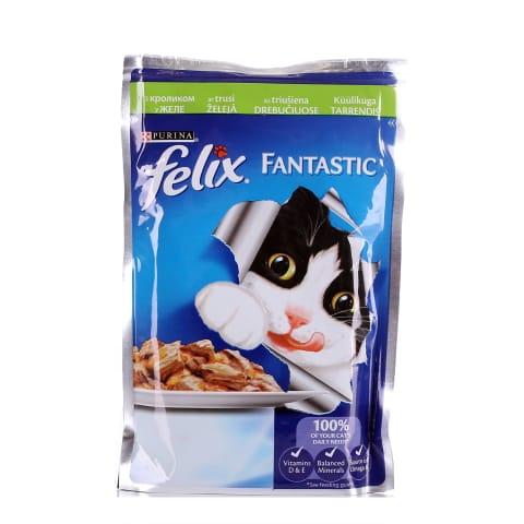 Kons. kaķiem Felix truša gaļas gabaliņi 100g