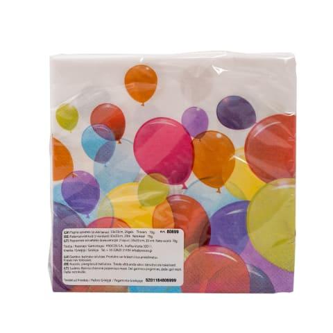 Papīra salvetes 33x33cm 20gab. balloons