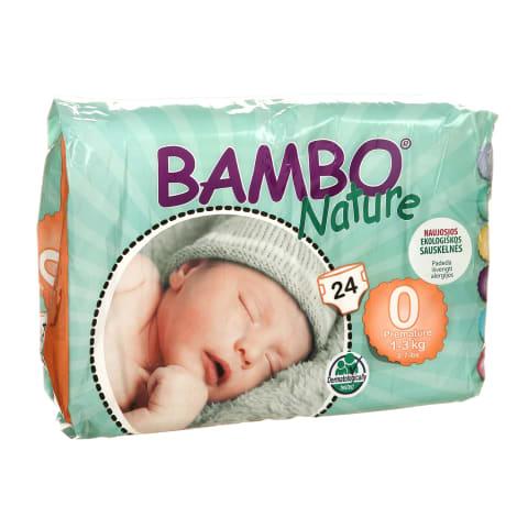 Sausk., BAMBO NATURE PREMATURE 0,1-3kg,24vnt.