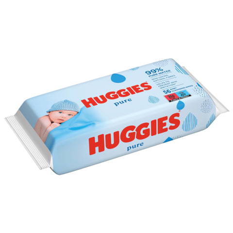 Drėgn. servetėlės HUGGIES PURE SINGLE, 56vnt.