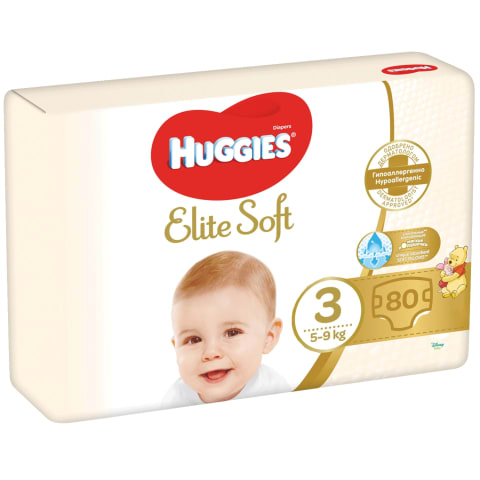 Sauskelnės HUGGIES ELITE SOFT 3, 5-9kg, 80vnt