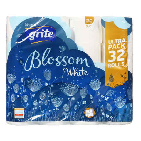 Tual. pap. Grite blossom white 32 ruļļi