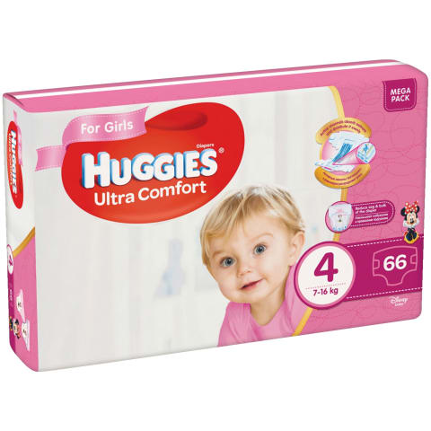 Autiņbiks. Huggies MEGAgirls 8-14kg 66gb